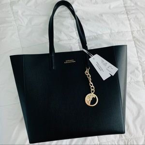 Brand New Versace Black Leather Tote